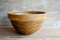 Vintage Tan Brown crock Stoneware Bowl