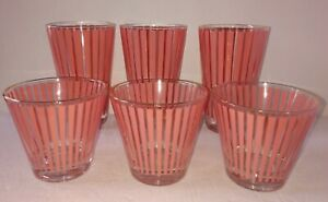 6 Mid Century Cocktail Drinking Glasses Flamingo Pink Stripes Gold Rim 3 S & 3 T