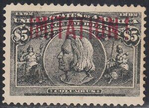 USA 1893 $5 Columbian 245 NICE COPY old Forgery by Krueger, Counterfeit, Fake.
