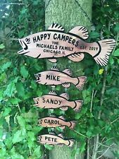 Personalized Custom Camping Sign RV Sign Family Name Sign Custom Camp Fish Sign