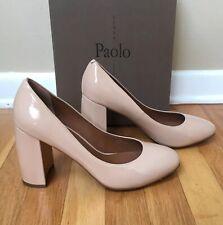 Linea Paolo 'Brooke' Block Heel Patent Leather Pump in Dusty Rose Nude Size 10M
