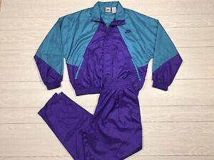 Vtg Nike Grey Tag 2 Piece Tracksuit Jacket Pants Sz M Jordan Grapes Windbreaker