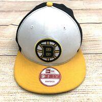 NWT New Era Boston Bruins Snapback Hat 9Fifty NHL Yellow White Adjustable Cap
