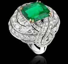 6.50 Carat Colombian Emerald Set in 14K White Gold Layover Bridal Wedding Ring