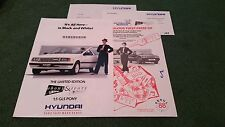 1988 HYUNDAI PONY 1.5 GLS EBONY & IVORY Special Edition UK BROCHURE +COMPETITION