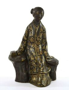 1930's Chinese Gilt Chocolate Ground Porcelain Figure Figurine Lady