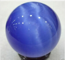 Cat's Eye Crystal Ball Orb Sphere display-blue 40MM+Stand