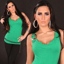 SeXy Miss Damen Wasserfall Girly Trend Top Silber Schnalle grün XS/S NEU