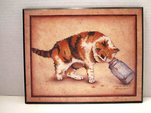 """Mary Ann June Cat Print 8"""" X 10"""" Tabby """"Almost Got It"""" Folk country on Wood"""