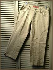 MILLY JEANS Stretch Cropped Capri Jean Pant (3/4) Tan Rhinestones & Embroidered