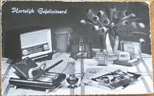 Realphoto 1960 Advertising Postcard: Radio/Cigarettes/Electric Shaver/Aqua Velva