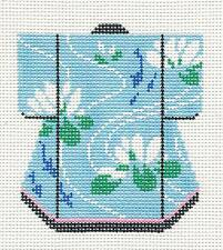Koi Pond & Lily Petite Japanese Kimono handpainted Needlepoint Canvas by LEE