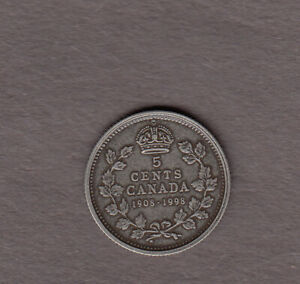 1908-1998 Canadian Silver 5 Cent ~ Rare Antique Finish Coin!