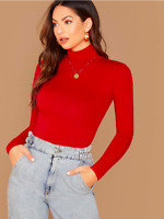 Red Bright Long Sleeves Turtleneck Slim Fit Elegant T-Shirt Top Sz XS S M L