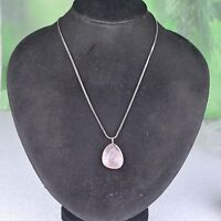 """Rose Quartz gemstone Necklace 925 Sterling Silver Two Tone 18"""" Jewelry 8.18g"""