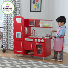 New Kidkraft Red Vintage Kitchen Kids Cooking Pretend Play Children Fun 53173