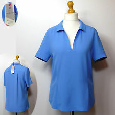 New M&S BEST of BRITISH Silky SHORT SLEEVE Pull-On BLOUSE / TOP ~ Size 12 ~ BLUE