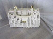 Vintage White Wicker Handbag Leather Handle & Trim Hand Made Hong Kong