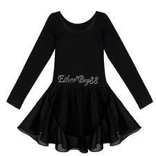 Girls Leotard Short Sleeve Ballet Dance Bodysuit 2-12 Y Gymnastic Tutu Dancewear