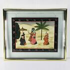 """Traditional Indian Silk Krishna Painting on Fabric Framed Glass Display 25""""x 21"""""""