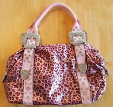 PINK LEOPARD WITH CRYSTAL & SILVER ACCENTS VINYL BAG