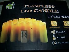 "12 Flameless 2.2x5"" Candles Battery Operated Flickering Led Real Wax w/Remote"