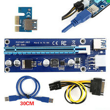 PCI-E 1x to 16x alimentata USB 3.0 Extender Riser Adapter Card Power Cable JU7