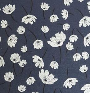 Polycotton Poly Cotton Fabric Navy Blue Floral Flowers 110cm wide