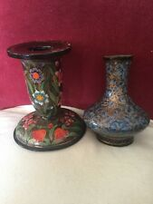 LOVELY VINTAGE Kashmir COLORATE LACCATE Candlestick & LACCATI RAME VASO