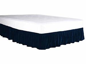 "1 Pc Elastic Wrap Around Velvet Bed Skirt Hotel bedding Decor 14"" drop"