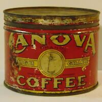 Old Vintage 1930s Canova Coffee GRAPHIC COFFEE TIN ONE POUND Louisville Kentucky