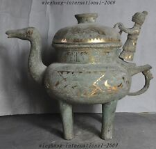 Old Chinese Dynasty Bronze Gilt People Beast Statue Teapot kettle Water Bottles