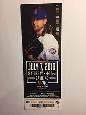 NEW YORK METS VS TAMPA BAY RAYS  JULY 7, 2018 TICKET STUB