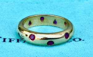 Tiffany & Co Ruby and 18K Gold Eternity Ring- Size 4.5