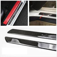 2*Universal Door Sill Carbon Fiber Car Scuff Plate Cover Panel Step Protector 3W