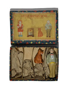 Antique LITTLE ORPHAN ANNIE BISQUE FIGURINES PARTIAL SET & ORIGINAL BOX