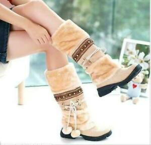 Hot Womens Ladies Winter Fashion Faux Fur Furry Balls Mid Calf Boots Shoes