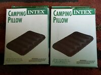 Camping Pillow Inflatable Fabric Canvas Feel Cushion Travel Overnight Hiking