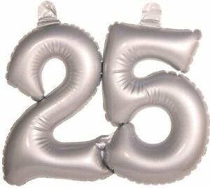 INFLATABLE SILVER NUMBER 25 DECORATION SILVER WEDDING ANNIVERSARY