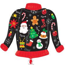 Ugly Christmas Jumper Sweater forma Natale Palloncino Stagnola Festa Decorazione