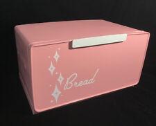 Vintage 1950s Mid Century Metal PINK Diamond Starburst Bread Box Kitchen