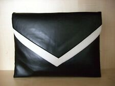 EXTRA LARGE BLACK & WHITE faux leather envelope clutch bag, fully lined BN,