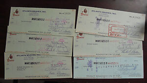 Lot of 6 Vintage 1969 73 Atlanta Braves Baseball Cancelled Checks