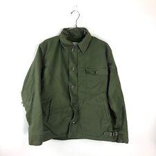 0dc56cbc244 Vintage USN A-2 Deck Jacket Olive Drab Men s Medium M Sateen 80s Coat Navy