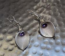 Vintage 925 Sterling Silver Statement Earrings Amethyst Tulip Flower Style Drop