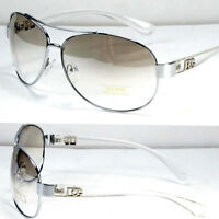 New Men Women Fashion Designer Pilot Sunglasses Shades Clear White Round Classic