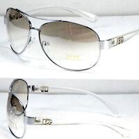 New Men Women Fashion Designer Pilot Sunglasses Shades Clear White Round Classic