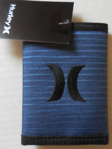Hurley Men's Renegade Printed TriFold Wallet Color Chlorine Blue/Black New