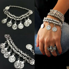 Women Silver Tribal Ethnic Coin Tassel Gypsy Turkish Anklet Bracelet Jewelry New