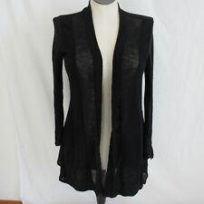 Eileen Fisher Black Lightweight Wool Open Cardigan Sweater Women's M